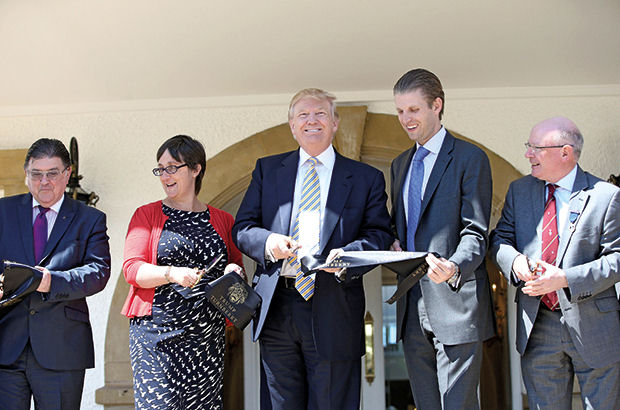 Trump jets in to open new clubhouses in Scotland